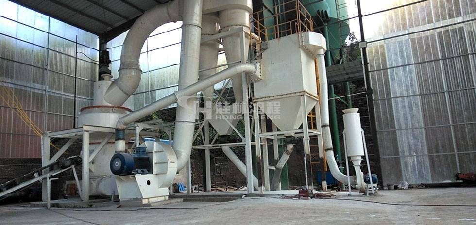 湖南懷化生石灰研磨設備HC擺式磨粉機客戶車間