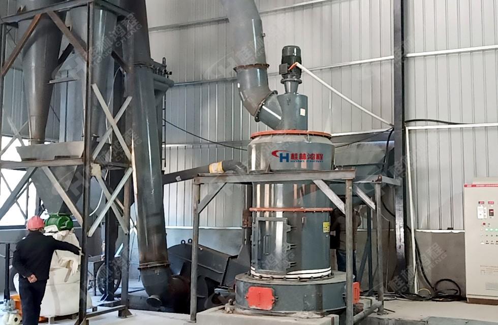 鸿程40目麦饭石磨粉机试产中-湖南汩罗