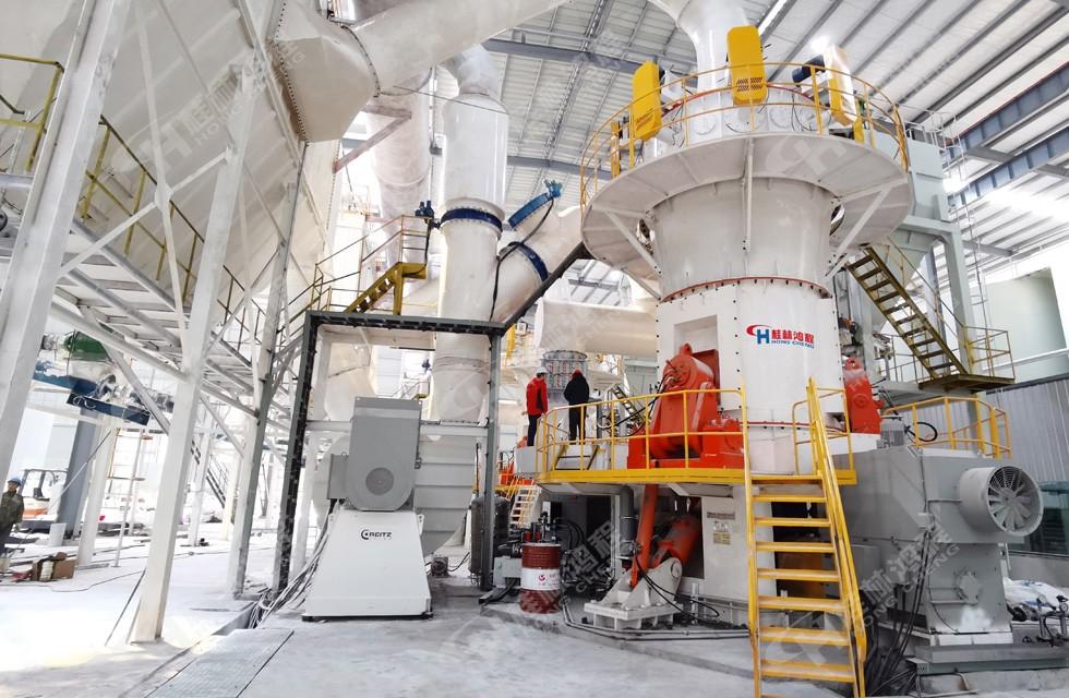 四川石棉某人造岗石厂HLMX1700碳酸钙粉超细立磨项目投产