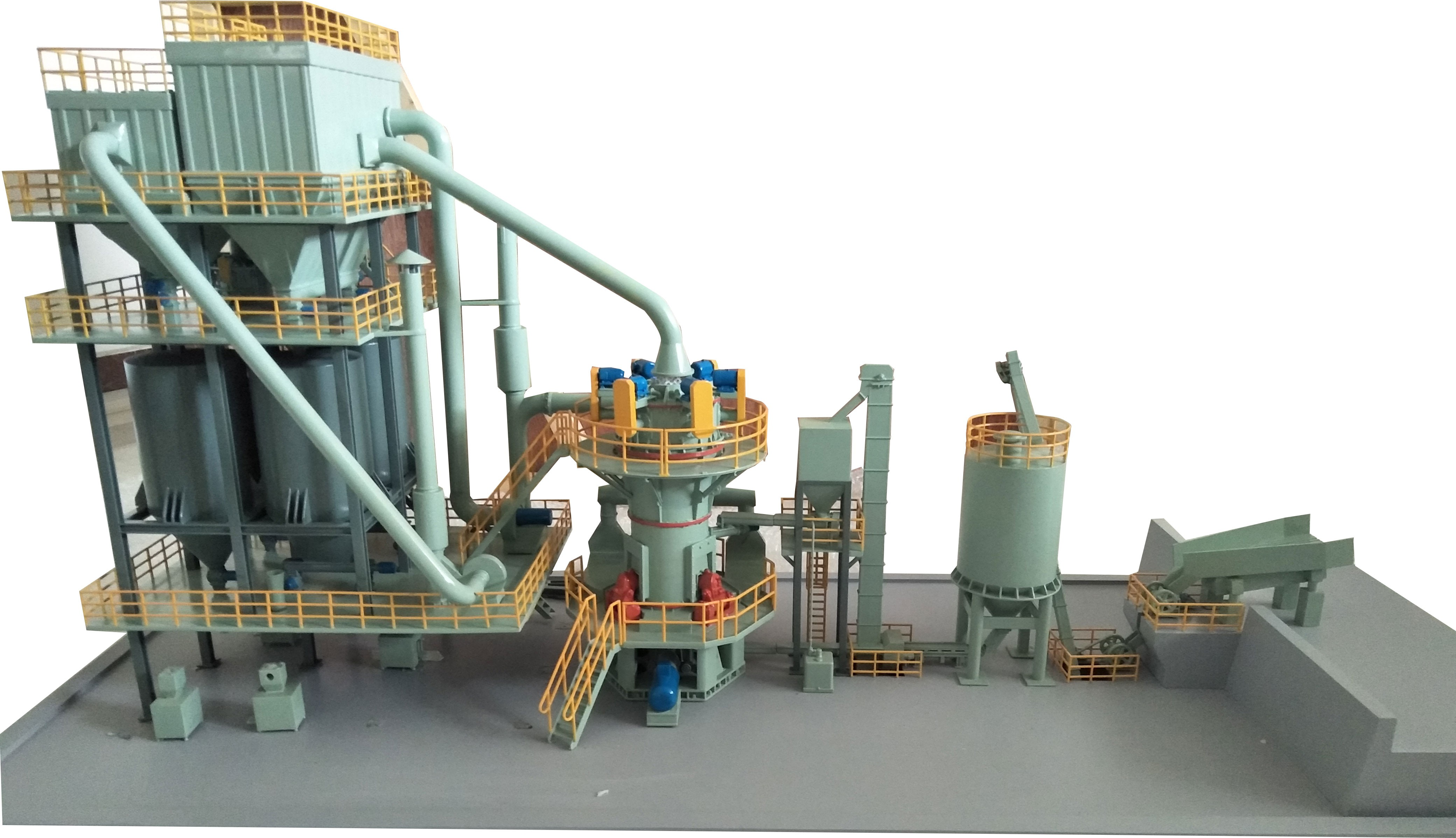 HLMX立式磨粉机矿石粉生产线布局图
