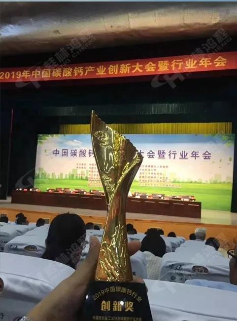 桂林鸿程荣获2019中国碳酸钙行业创新奖奖杯