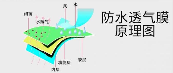 防水透氣膜原理圖(圖片來源:在途環保)